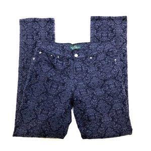 Ralph Lauren Modern Straight Blue Print Jeans 8